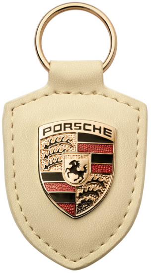 Picture of Crest Keyring Leather White